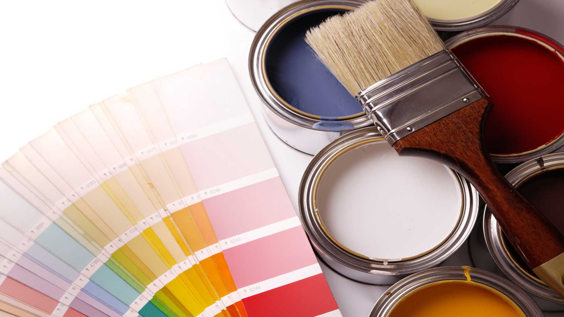 Paint Colors With Paint Cans And A Paint Brush Interior and Exterior Home Painting Services Gutter Solutions and Home Improvements